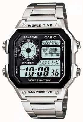 Casio Relógio digital multifunções com quartzo mundial AE-1200WHD-1AVEF