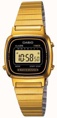 Casio Bracelete digital feminino retro banhado a ouro LA670WEGA-1EF