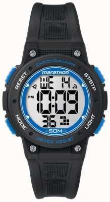 Timex Maratona tira de borracha preta digital azul TW5K84800