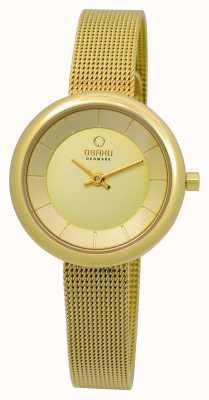 Obaku Bracelete de malha de chapa de ouro pvd para mulher V146LXGGMG