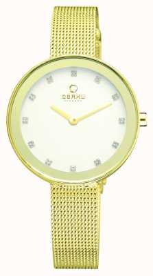 Obaku Mulheres | pvd placa de ouro face | pulseira de malha de aço inoxidável V161LXGIMG