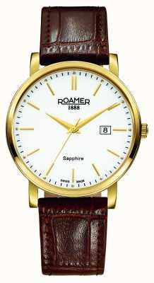 Roamer Linha clássica | pulseira de couro marrom | mostrador branco 709856-48-25-07