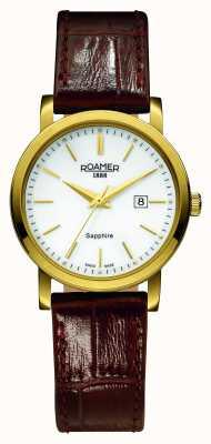 Roamer Linha clássica | pulseira de couro marrom | mostrador branco 709844-48-25-07