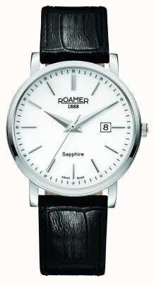 Roamer Linha clássica | pulseira de couro preto | mostrador branco 709856 41 25 07