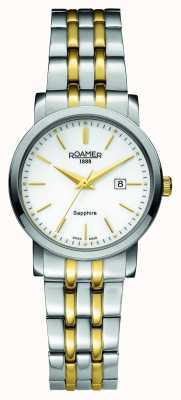 Roamer Linha clássica | aço inoxidável de dois tons | mostrador branco 709844 47 25 70