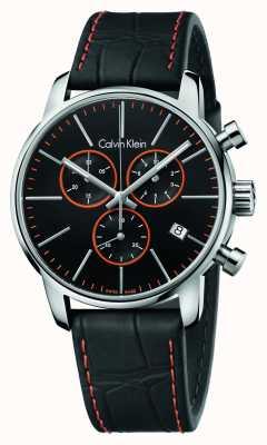 Calvin Klein Cidade dos homens, preto, laranja, crono de couro K2G271C1