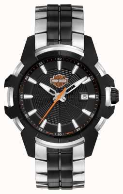 Harley Davidson Teia de aranha masculina | pulseira de aço bicolor | mostrador preto 78B124
