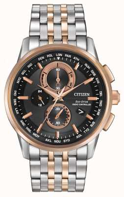 Citizen Mens eco-drive world chrono em aço e ouro rosa AT8116-57E