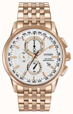 Citizen Mens eco drive world chrono no tom de ouro rosa AT8113-55A