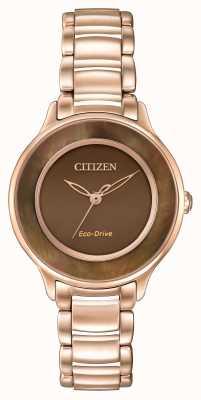 Citizen Eco-drive l círculo de tempo subiu ouro EM0382-86X