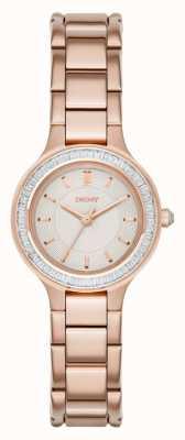 DKNY Câmaras para mulheres conjunto de pedra rosa ouro pvd NY2393