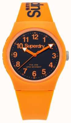 Superdry Alça de borracha laranja urbana para homem mostrador preto SYG164O