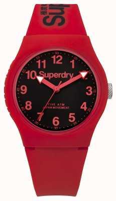 Superdry Correia vermelha urbana para homens mostrador preto SYG164RB