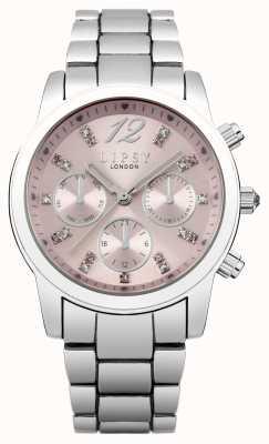 Lipsy Bracelete de aço inoxidável feminino mostrador rosa LP390