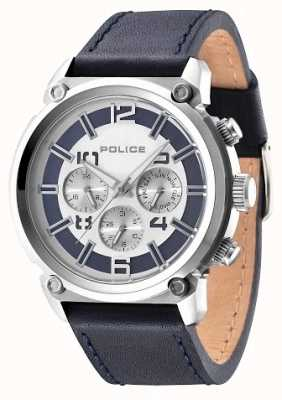 Police Mens pulseira de couro preto pulseira de discagem de prata 14378JS/04