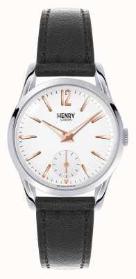 Henry London Alavanca de couro preta Highgate mostrador branco HL30-US-0001