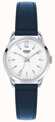 Henry London Correia de couro azul Knightsbridge mostrador branco HL25-S-0027