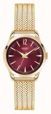 Henry London Marcado vermelho escuro de malha dourada Holborn HL25-M-0058