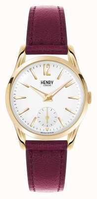 Henry London Holborn correia de couro vermelho escuro mostrador branco HL30-US-0060