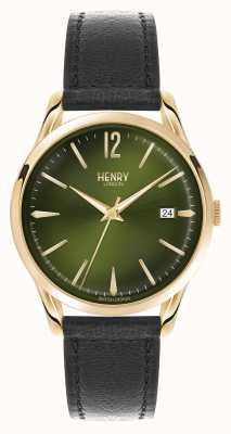 Henry London Cintura de couro preto Chiswick mostrador verde HL39-S-0100