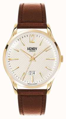 Henry London Westminster brown leather strap champagne HL41-JS-0016