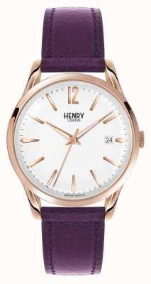 Henry London Hampstead pulseira de couro roxo discagem branca HL39-S-0082