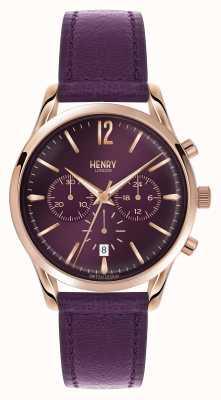 Henry London Cronógrafo de cinta de couro roxo Hampstead HL39-CS-0092