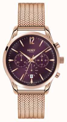 Henry London Cronógrafo de malha dourada rosa Hampstead HL39-CM-0088
