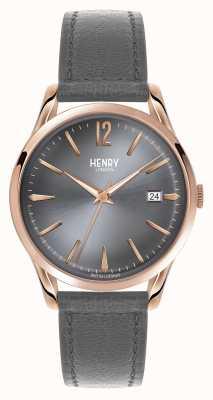 Henry London Correia de couro gris Finchley mostrador cinzento HL39-S-0120