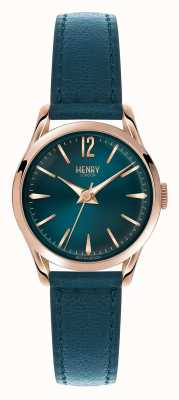 Henry London Stratford faixa de couro azul mostrador azul HL25-S-0128