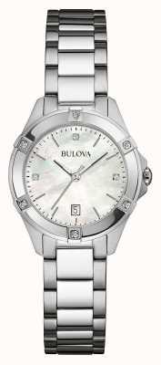 Bulova Diamante de aço inoxidável para mulher 96W205