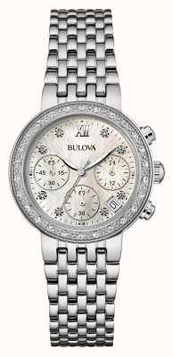 Bulova Cronômetro de diamante em aço inoxidável para diamantes 96W204