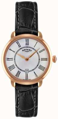 Rotary Ladies elise relógio de alça de couro preto LS02919/41