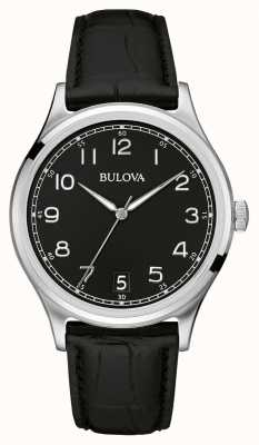 Bulova Bracelete de couro preto clássico Gents 96B233