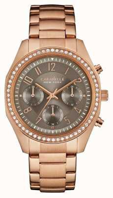 Caravelle New York Cronógrafo de cristal de ouro rosa feminino 44L195