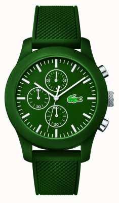 Lacoste Mens 12.12 pulseira de borracha verde cronógrafo verde 2010822