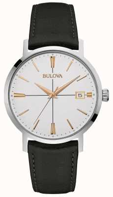 Bulova Mens pulseira de couro preto mostrador branco 98B254
