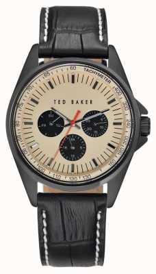Ted Baker Mens pulseira de couro preto creme dial TE1114