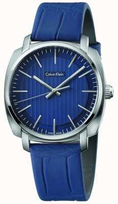 Calvin Klein Alça de couro azul highline blue dial K5M311VN