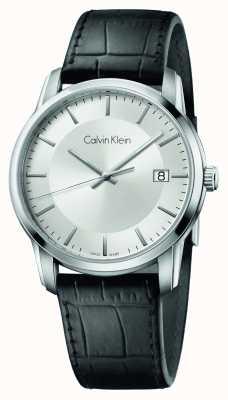 Calvin Klein Alça de couro infinita de couro preto mostrador de prata K5S311C6