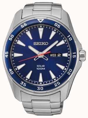 Seiko Mosquiteiro solar de aço inoxidável azul SNE391P1