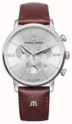 Maurice Lacroix Eliros data cronógrafo de cinta de couro EL1098-SS001-110-1