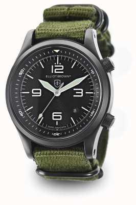 Elliot Brown Mens canford pulseira de nylon verde mostrador preto 202-004-N01