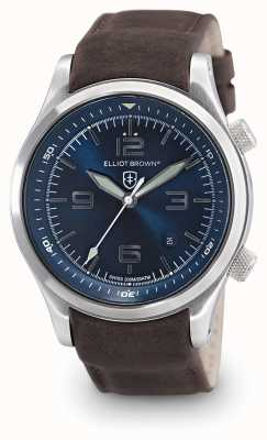 Elliot Brown Mens canford couro marrom mostrador azul 202-007-L07