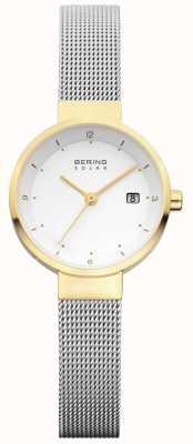 Bering Discagem branca em malha de aço inoxidável para mulheres 14426-010