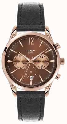 Henry London Cinta de couro preta unisex HL39-CS-0054