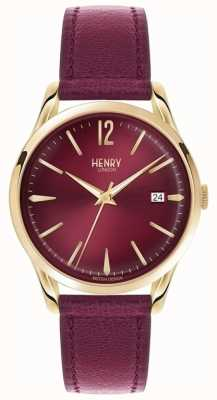 Henry London Unisex holborn borgonha couro burgundy dial HL39-S-0066
