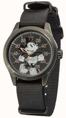 Disney By Ingersoll Relógio do mouse Mickey com alça de nylon preta DIN008BKBK