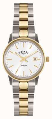 Rotary Womens vingador dois tons de pulseira de discagem branca LB02736/02