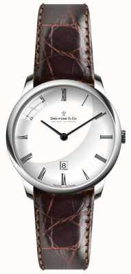 Dreyfuss Mens pulseira de couro marrom mostrador branco DGS00135/01